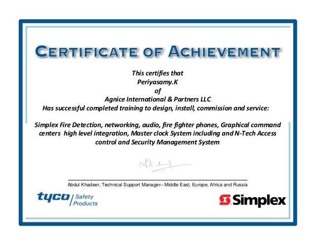 SIMPLEX Fire Detection and Alarm Certificate