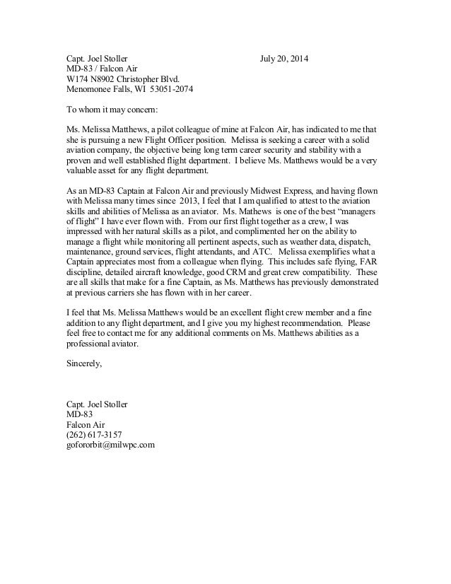 flight attendant recommendation letter sample