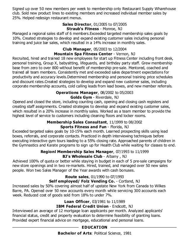 Resume Membership Sales Resume Examples