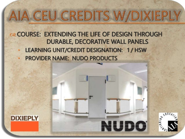  COURSE: ENGINEERED CEDAR PRODUCTS • LEARNING UNIT/CREDIT DESIGNATION: 1 / GENERAL • PROVIDER NAME: COULSON CEDAR