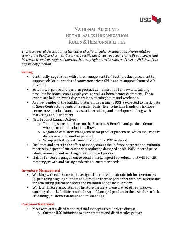 Usg National Accounts Job Description