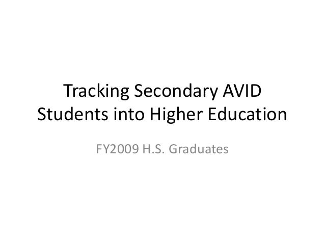 Tracking Secondary AVID Students into Higher Education FY2009 H.S. Graduates