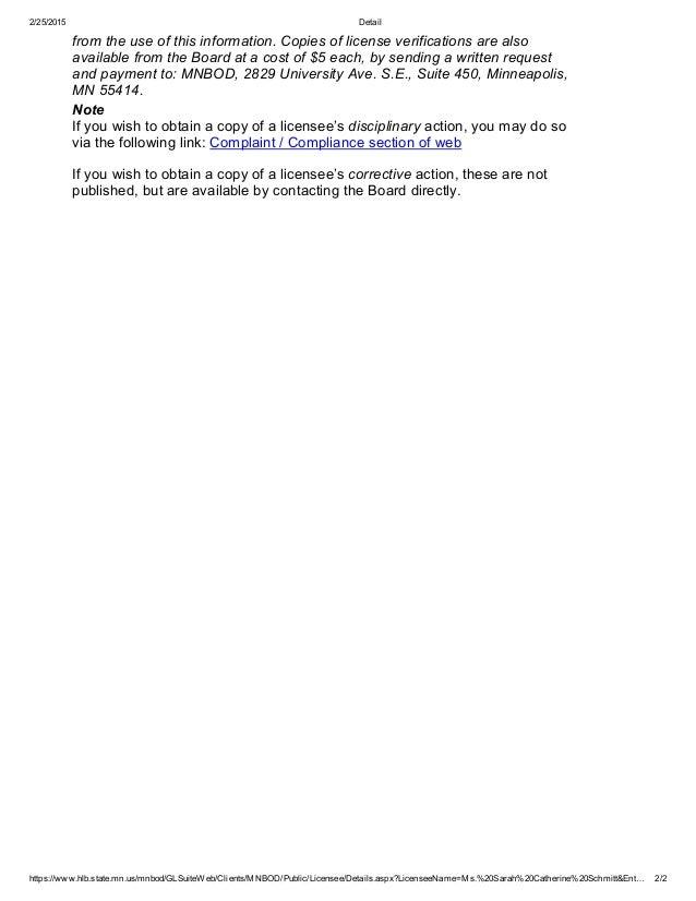 Minnesota Board of Dentistry Web Services License Verification
