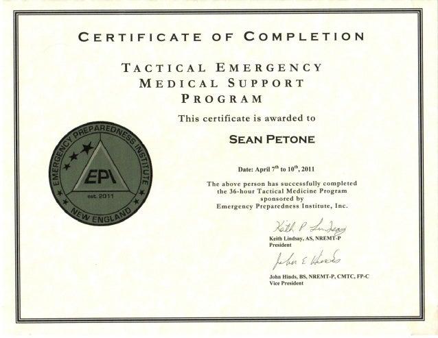 Tactical EMT Certificate