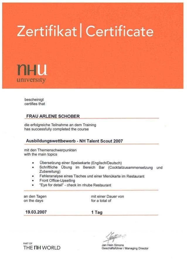 Zertifikat NH Talent Scout