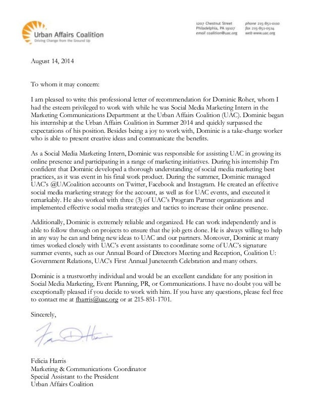 fh letter of recommendation for dominic roher
