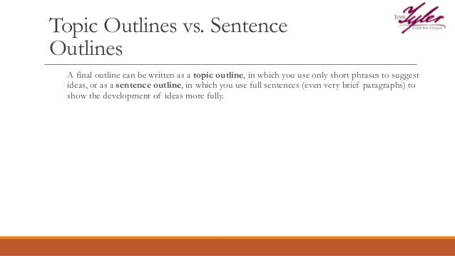 us 101 topic sentence and informal outline Outline for english 092  use topic sentences, develop ideas, and organize supporting evidence in an essay  meant to prepare students for taking english 101 .