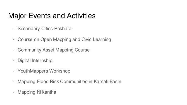 Major Events and Activities - Secondary Cities Pokhara - Course on Open Mapping and Civic Learning - Community Asset Mappi...