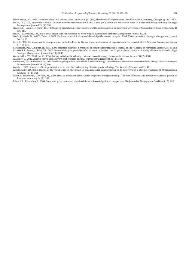 Journal of Business Venturing : Alliance portfolios and