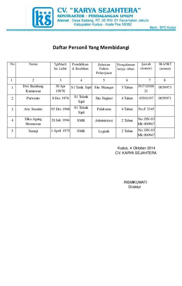 Daftar Personil Yang Membidangi  Kudus, 4 Oktober 2014  CV. KARYA SEJAHTERA  RISMIKUWATI  Direktur  No Nama Tgl/bln/t  hn ...