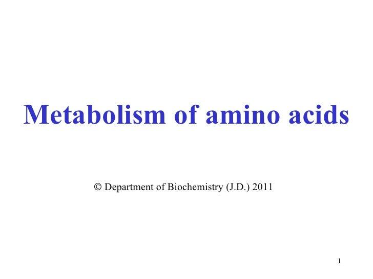 Metabolism  of amino acids    Department of Biochemistry (J.D.) 2011
