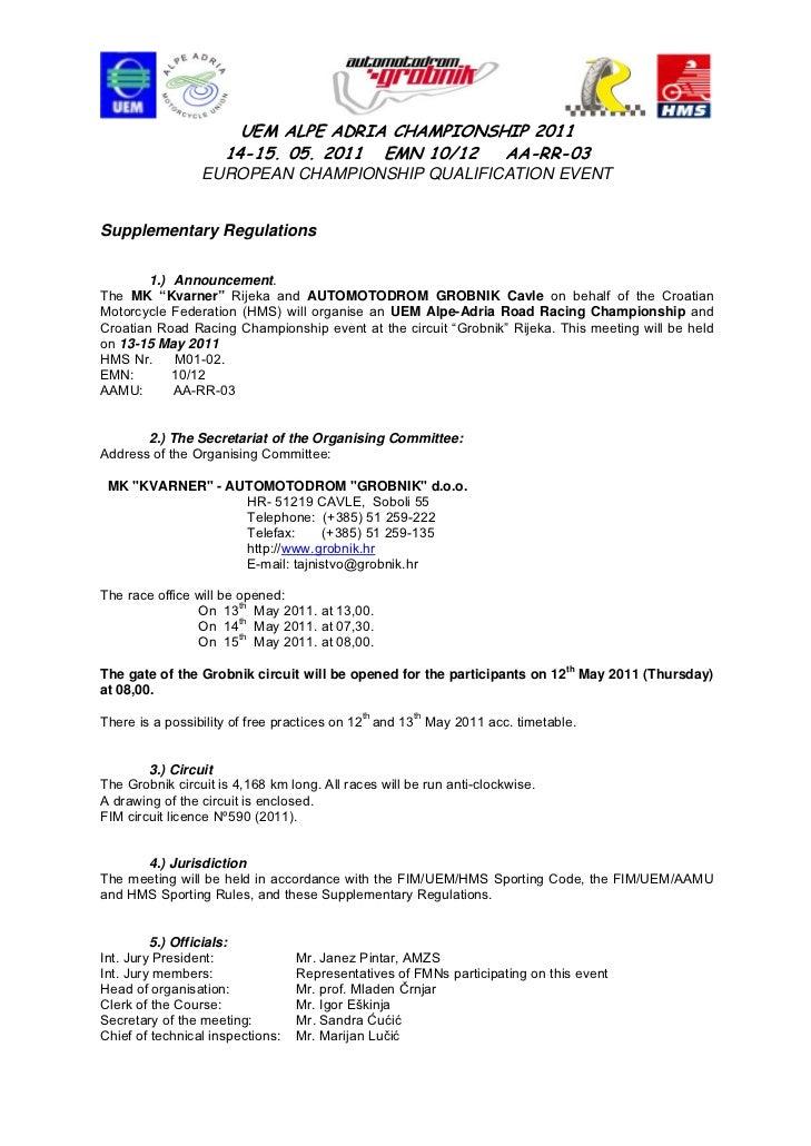 UEM ALPE ADRIA CHAMPIONSHIP 2011                     14-15. 05. 2011 EMN 10/12  AA-RR-03                 EUROPEAN CHAMPION...