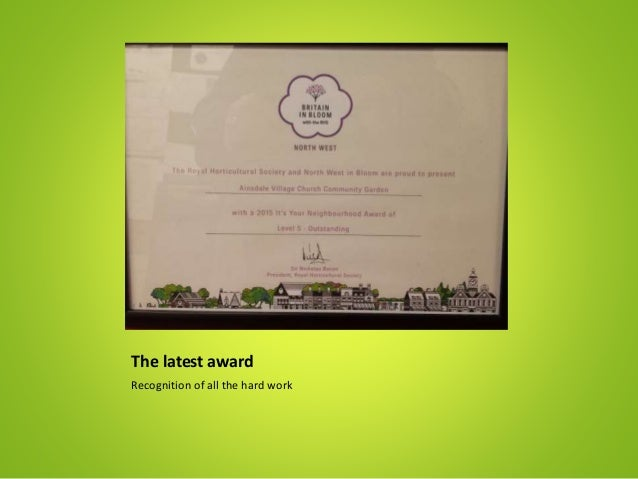 The latest award Recognition of all the hard work