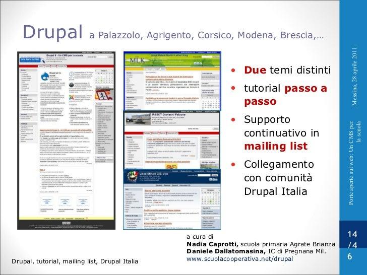 Drupal  a Palazzolo, Agrigento, Corsico, Modena, Brescia,…  a cura di  Nadia Caprotti,  scuola primaria Agrate Brianza Dan...