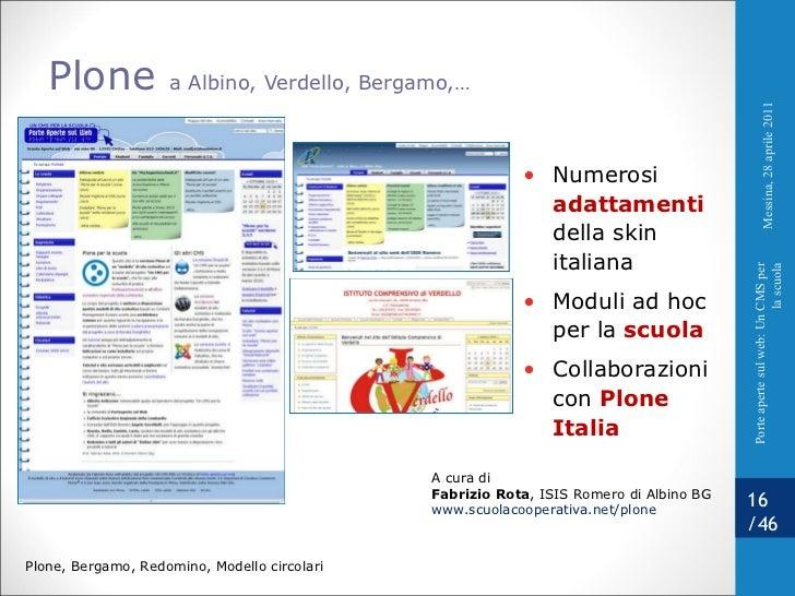 Plone  a Albino, Verdello, Bergamo,…  A cura di Fabrizio Rota , ISIS Romero di Albino BG www.scuolacooperativa.net/plone  ...