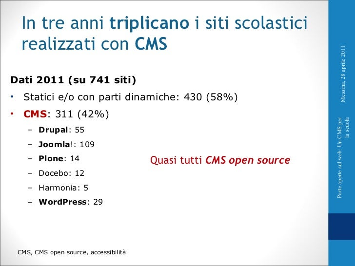 <ul><li>Dati 2011 (su 741 siti) </li></ul><ul><li>Statici e/o con parti dinamiche: 430 (58%) </li></ul><ul><li>CMS : 311 (...