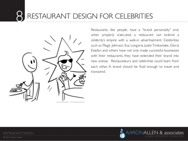 "8	  RESTAURANT DESIGN FOR CELEBRITIES	  Restaurants, like people, have a ""brand personality"" and, when properly executed, ..."