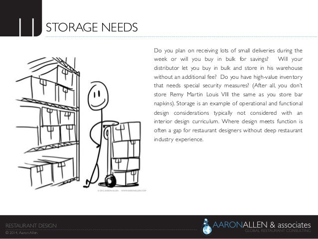 11	  STORAGE NEEDS	  Do you plan on receiving lots of small deliveries during the week or will you buy in bulk for savings...