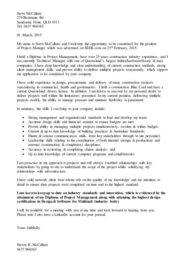 Mccallum steve project manager cover letter for How to write a cover letter for construction job