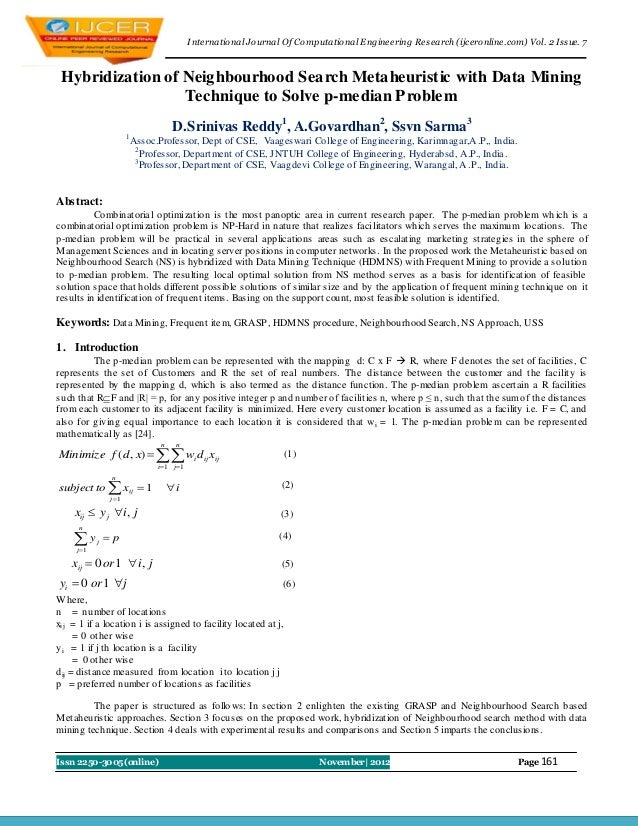 I nternational Journal Of Computational Engineering Research (ijceronline.com) Vol. 2 Issue. 7 Hybridization of Neighbourh...
