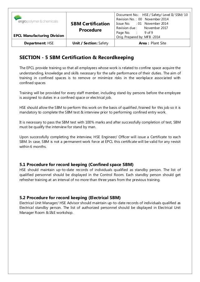 Section 10 Sbm Certification Procedure