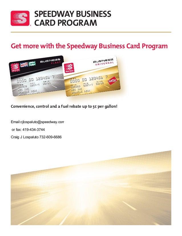 speedway business card program get more with the speedway business card program convenience - Speedway Fleet Card