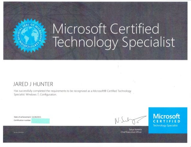 Microsoft Certified Technology Specialist Redacted