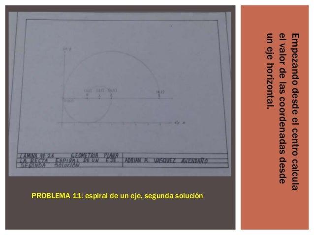 Empezando desde el centro calcula el valor de las coordenadas desde un eje horizontal.  PROBLEMA 11: espiral de un eje, se...