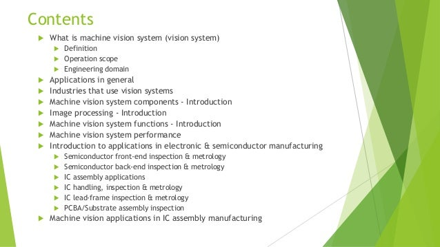 Machine Vision Systems And Applications