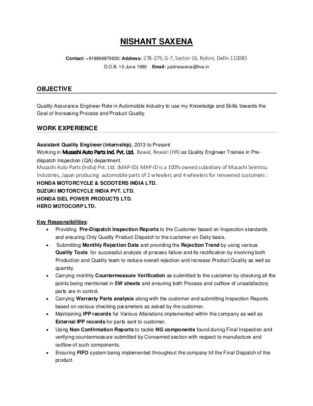 resume format for quality engineer a professional resume template
