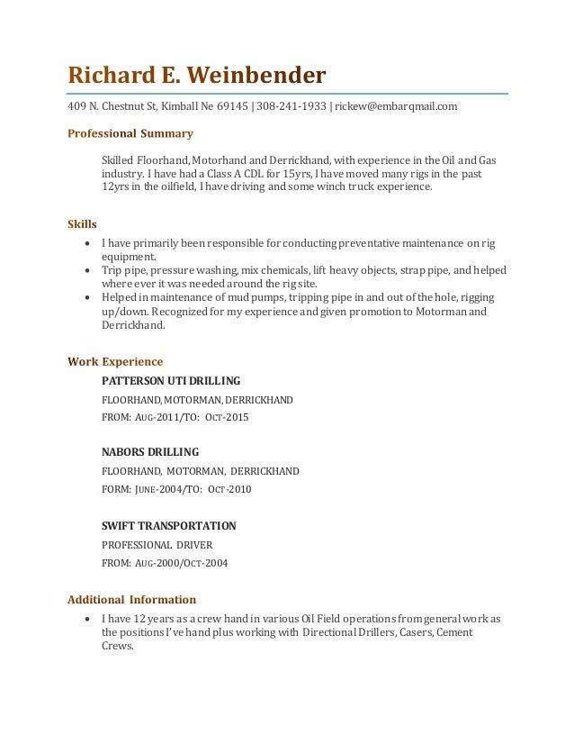 my resume for motorman