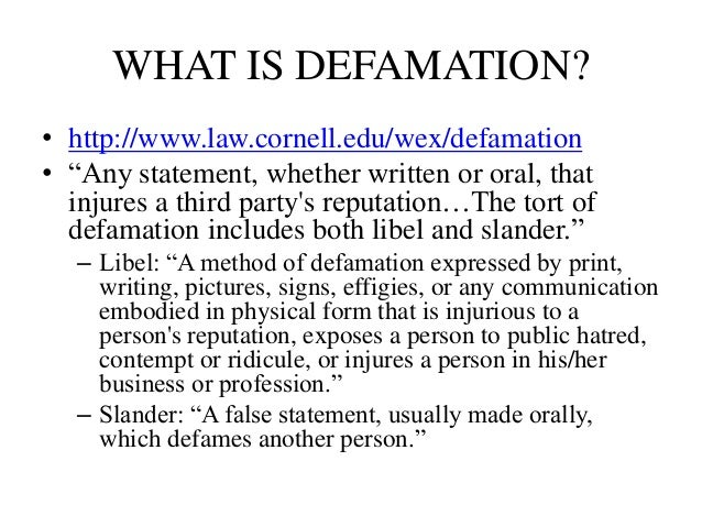 online defamation essay With the rise of social networks, content aggregation sites, and online  commentary, the risk of defamatory content reaching a broad audience has  increased.