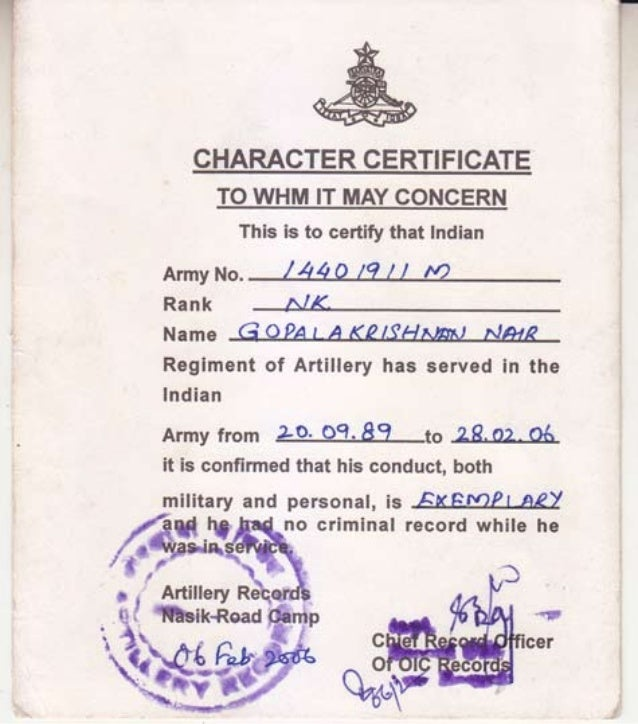 ARMY Character Certificate