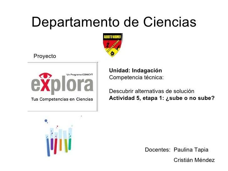 Departamento de Ciencias Proyecto Docentes:  Paulina Tapia Cristián Méndez Unidad: Indagación Competencia técnica:  Descub...