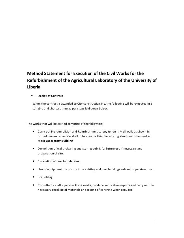 Method Statement for Execution of the Civil Works for the  Refurbishment of the Agricultural Laboratory of the University ...