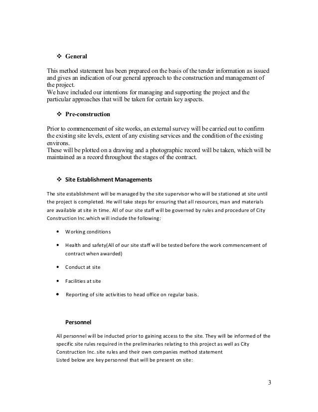 METHOD STATEMENT – Method of Statement