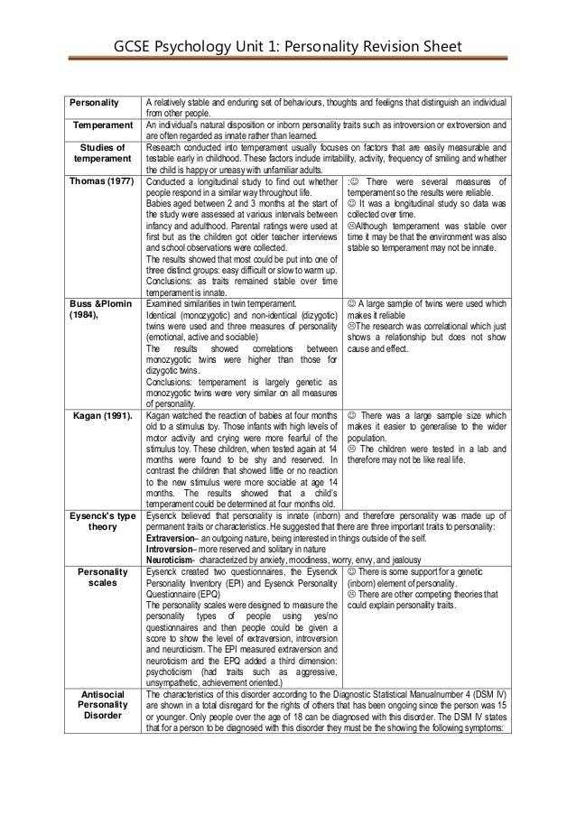 GCSE Psychology Unit 1: Personality Revision Sheet Personality A relatively stable and enduring set of behaviours, thought...