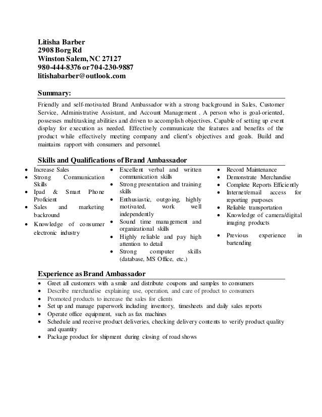 brand ambassador resume 1