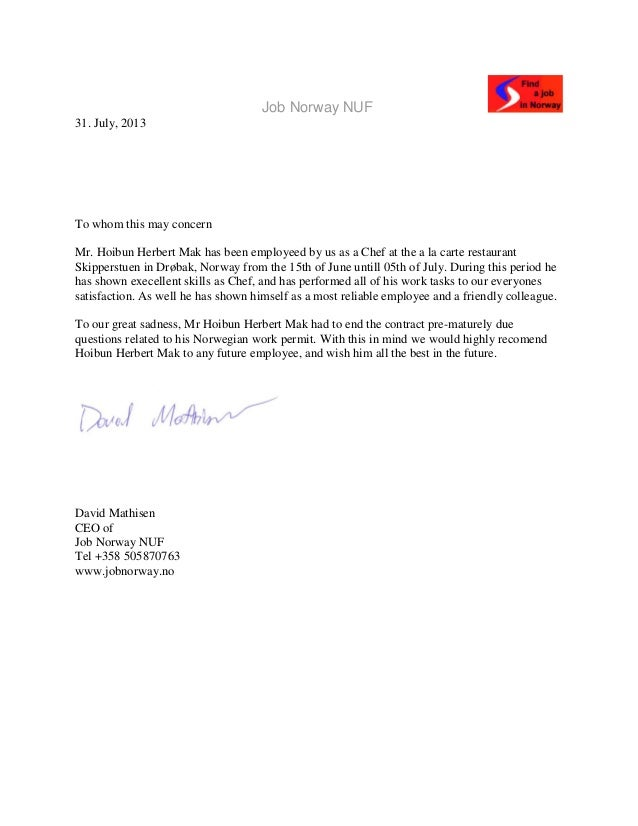 Job Norway Nuf Recommendation Letter