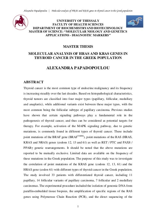 Alexandra Papadopoulou | Molecular analysis of HRAS and KRAS genes in thyroid cancer in the Greek population 1 UNIVERSITY ...