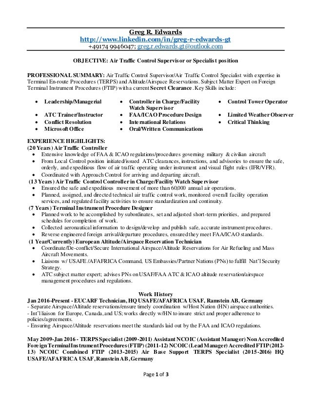 Edwards   ATC Bulleted Resume. Page 1 Of 3 Greg R. Edwards  Http://www.linkedin. Regard To Air Traffic Controller Resume