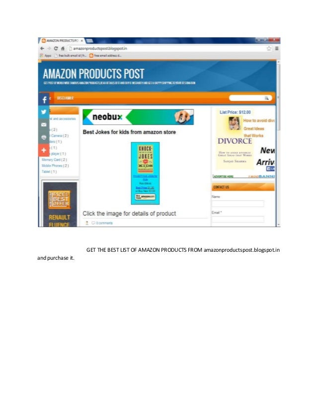 GET THE BEST LIST OF AMAZON PRODUCTS FROM amazonproductspost.blogspot.in and purchase it.