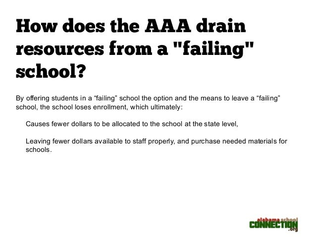 "How does the AAA drain  resources from a ""failing""  school?  By offering students in a ""failing"" school the option and the..."