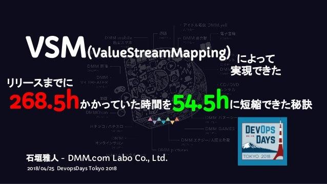 VSM(ValueStreamMapping) によって 実現できた 268.5hかかっていた時間を54.5hに短縮できた秘訣 石垣雅人 - DMM.com Labo Co., Ltd. 2018/04/25 DevopsDays Tokyo ...