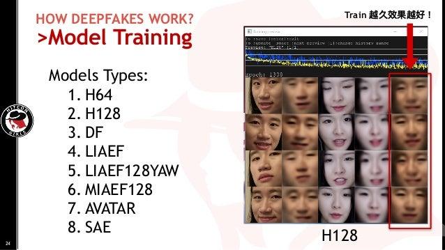 HOW DEEPFAKES WORK? >Model Training Models Types: 1. H64 2. H128 3. DF 4. LIAEF 5. LIAEF128YAW 6. MIAEF128 7. AVATAR 8. SA...
