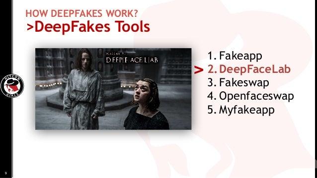 HOW DEEPFAKES WORK? >DeepFakes Tools 1. Fakeapp 2.DeepFaceLab 3. Fakeswap 4. Openfaceswap 5. Myfakeapp > 9