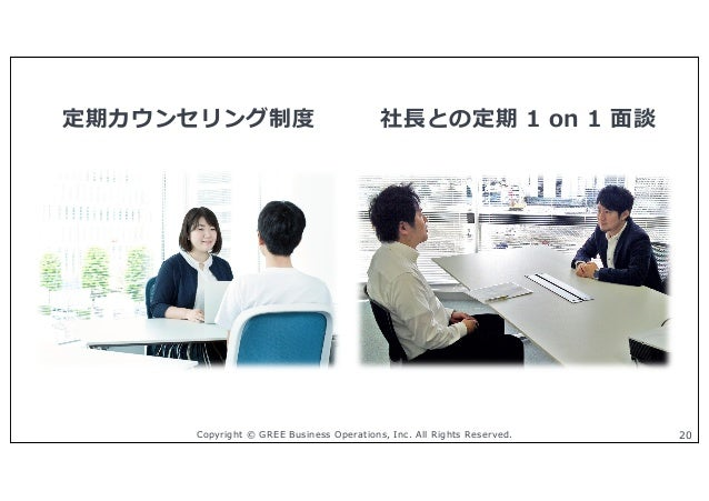Copyright © GREE Business Operations, Inc. All Rights Reserved. 20 定期カウンセリング制度 社⻑との定期 1 on 1 ⾯談