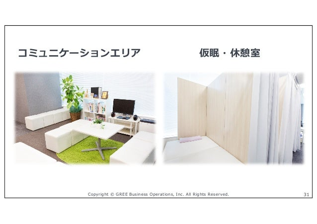 Copyright © GREE Business Operations, Inc. All Rights Reserved. 31 コミュニケーションエリア 仮眠・休憩室