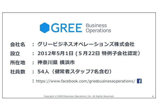 Copyright © GREE Business Operations, Inc. All Rights Reserved. 4 会社名 ︓ グリービジネスオペレーションズ株式会社 設⽴ ︓ 2012年5⽉1⽇ (5⽉22⽇ 特例⼦会社認定)...