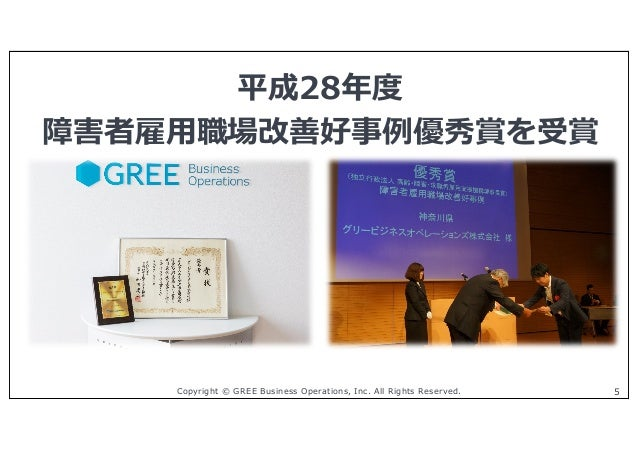 Copyright © GREE Business Operations, Inc. All Rights Reserved. 5 平成28年度 障害者雇⽤職場改善好事例優秀賞を受賞